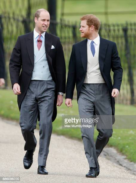 Prince William, Duke of Cambridge and Prince Harry attend the wedding of Pippa Middleton and James Matthews at St Mark's Church on May 20, 2017 in...