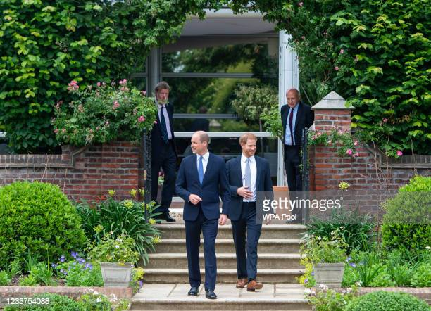 Prince William, Duke of Cambridge and Prince Harry, Duke of Sussex arrive for the unveiling of a statue they commissioned of their mother Diana,...