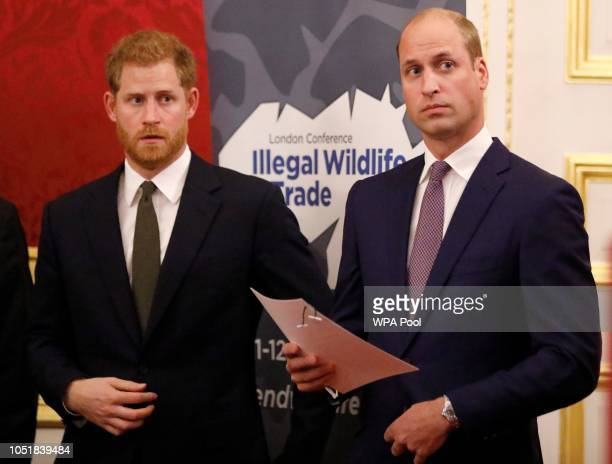 Prince William, Duke of Cambridge and Prince Harry, Duke of Sussex, host a reception to officially open the 2018 Illegal Wildlife Trade Conference at...