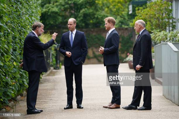 Prince William, Duke of Cambridge and Prince Harry, Duke of Sussex speak with Rupert Gavin, Chairman of Historic Royal Palaces and Jamie...