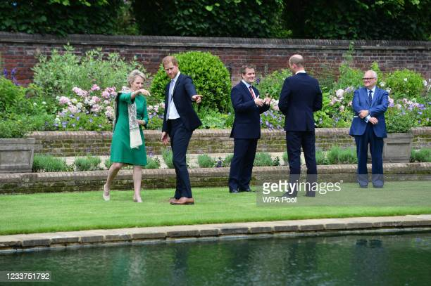 Prince William, Duke of Cambridge and Prince Harry, Duke of Sussex during the unveiling of a statue they commissioned of their mother Diana, Princess...
