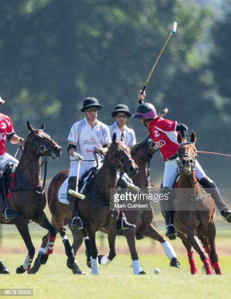 Prince William Duke of Cambridge and Prince Harry Duke of Sussex during the Audi Polo Challenge Day 1 at Coworth Park Polo Club on June 30 2018 in...