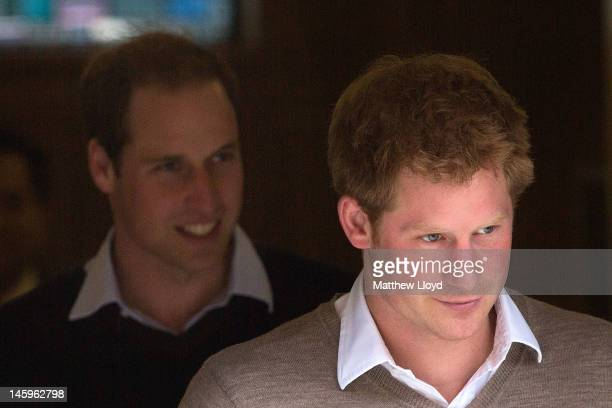 Prince William Duke of Cambridge and Prince Harry leave the King Edward VII hospital after visiting their grandfather Prince Philip Duke of Edinburgh...