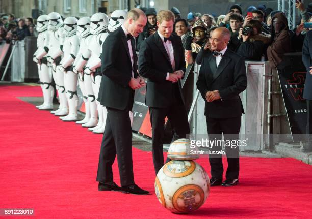 Prince William Duke of Cambridge and Prince Harry meet BB8 as they attend the European Premiere of 'Star Wars The Last Jedi' at Royal Albert Hall on...