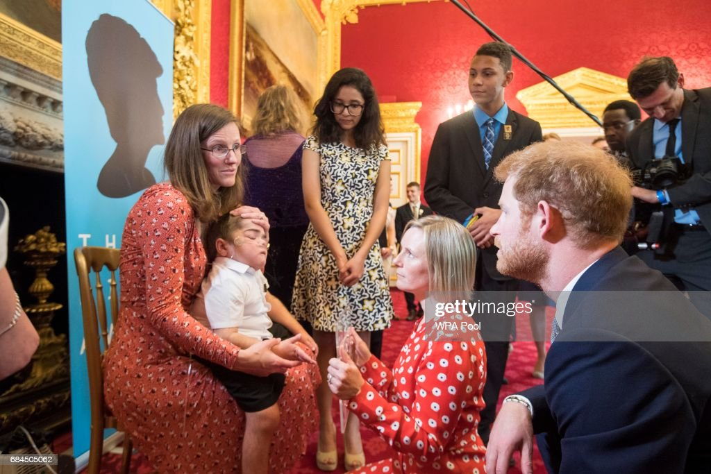 Prince William, Duke of Cambridge and Prince Harry meet some of the winners at the Diana Award's at St James' Palace on May 18, 2017 in London, England.