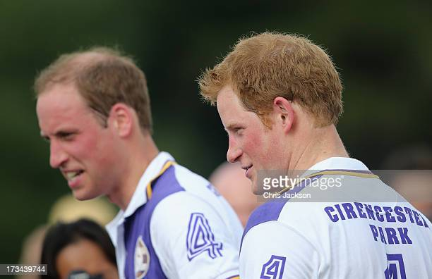 Prince William, Duke of Cambridge and Prince Harry smile after the Jerudong Trophy at Cirencester Park Polo Club on July 14, 2013 in Cirencester,...