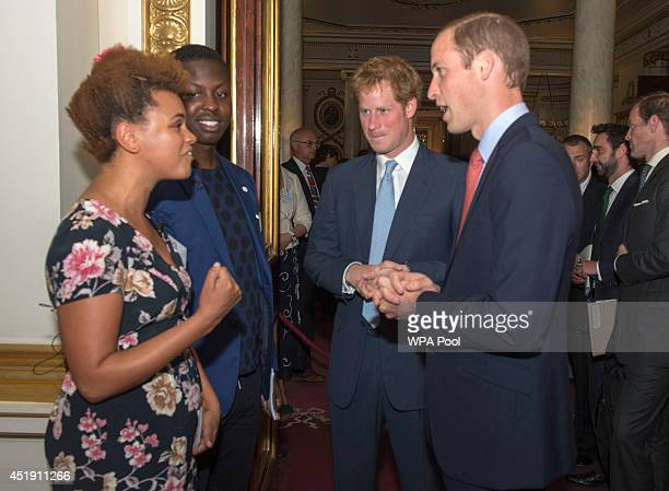 Prince William Duke of Cambridge and Prince Harry speak to Gemma Cairney and Jamal Edwards during the launch of The Queen's Young Leaders Programme...