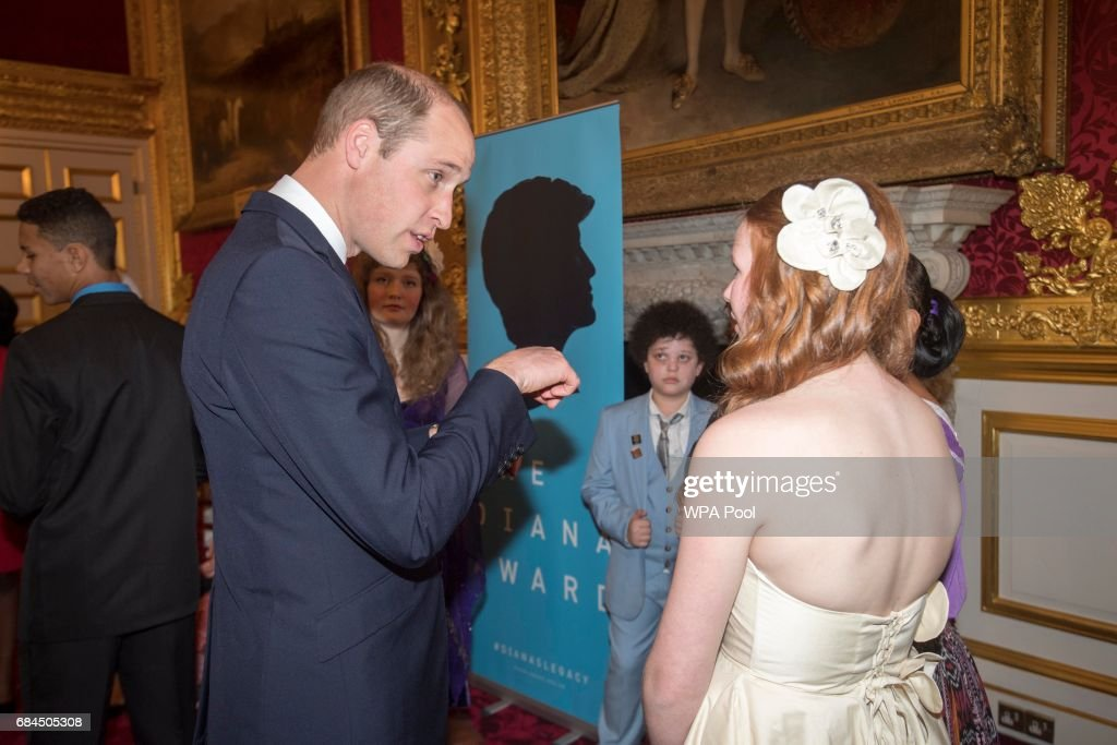 Prince William, Duke of Cambridge and Prince Harry speak to some of the winners at the Diana Award's at St James' Palace on May 18, 2017 in London, England.