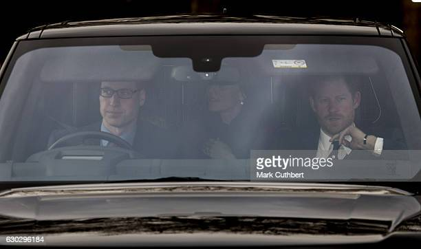 Prince William Duke of Cambridge and Prince Harry with Catherine Duchess of Cambridge attend the annual Buckingham Palace Christmas lunch hosted by...