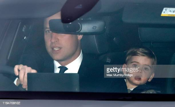 Prince William Duke of Cambridge and Prince Louis of Cambridge attend a Christmas lunch for members of the Royal Family hosted by Queen Elizabeth II...