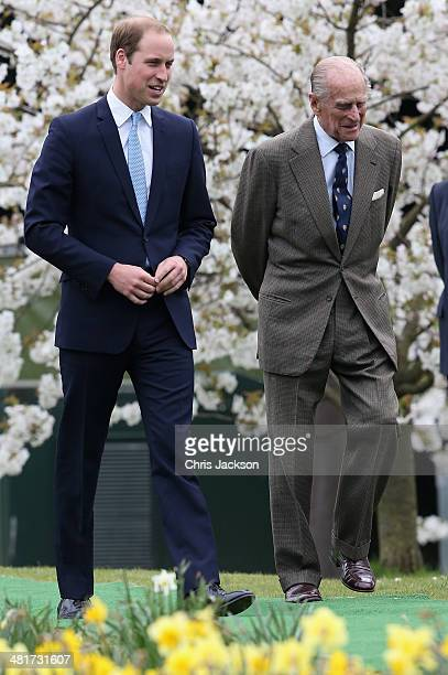 Prince William Duke of Cambridge and Prince Phillip Duke of Edinburgh attend the Windsor Greys Statue unveiling on March 31 2014 in Windsor England...