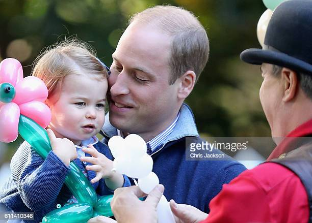 Prince William Duke of Cambridge and Princess Charlotte of Cambridge at a children's party for Military families during the Royal Tour of Canada on...