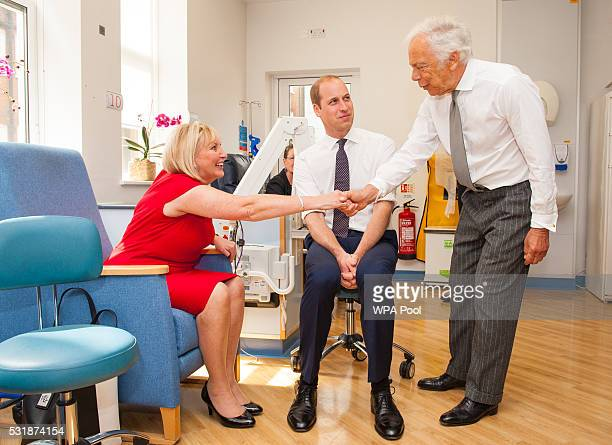 Prince William Duke of Cambridge and Ralph Lauren meet breast cancer patient Kathryn England during a visit to the Royal Marsden NHS Foundation Trust...