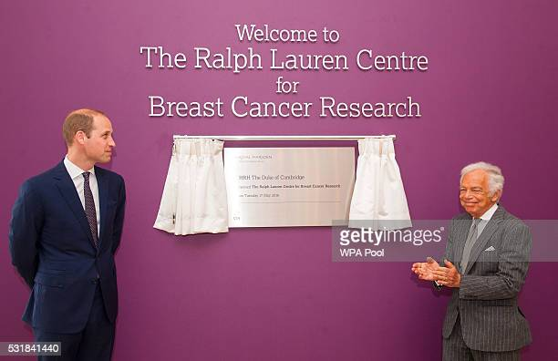 Prince William Duke of Cambridge and Ralph Lauren unveil a plaque during a visit to the Royal Marsden NHS Foundation Trust in Chelsea west London as...