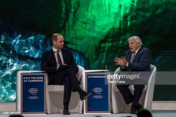 Prince William Duke of Cambridge and Sir David Attenborough attend a panel on environmental issues at the 2019 World Economic Forum which took place...