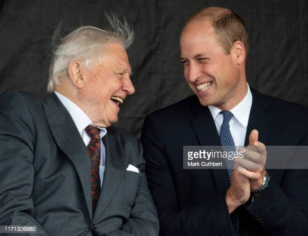 Prince William, Duke of Cambridge and Sir David Attenborough attend the naming ceremony for The RSS Sir David Attenborough on September 26, 2019 in...