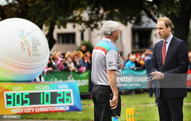 Prince William Duke of Cambridge and Sir Richard Hadlee ICC Cricket World Cup 2015 Ambassador talk following a game of cricket during the countdown...