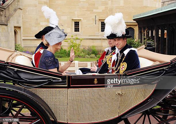 Prince William Duke of Cambridge and Sophie Countess of Wessex attend the annual parade for members of the Order of the Garter at Windsor Castle in...