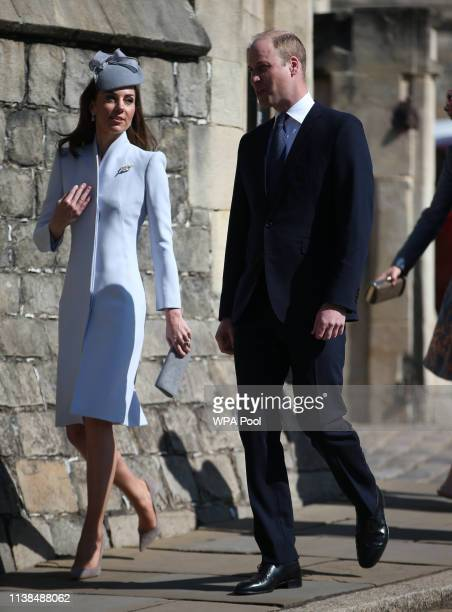 Prince William, Duke of Cambridge and v attend Easter Sunday service at St George's Chapel on April 21, 2019 in Windsor, England.
