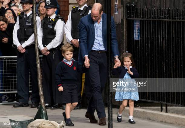 Prince William Duke of Cambridge arrives back at the Lindo Wing of St Mary's Hospital with his other two children Prince George and Princess...