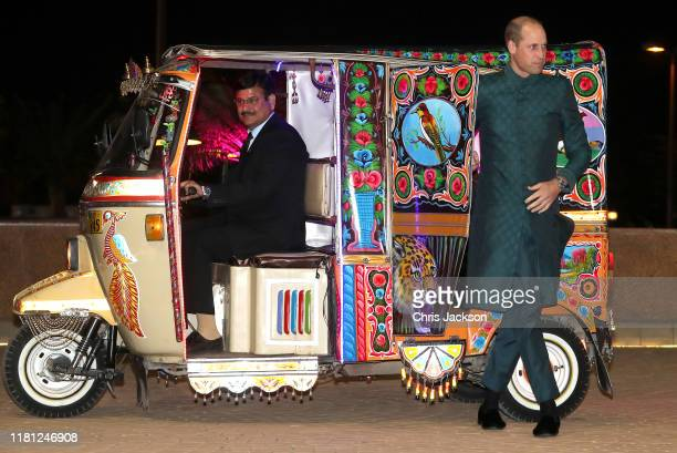Prince William Duke of Cambridge arrives by Tuk Tuk with Catherine Duchess of Cambridge as they attend a special reception hosted by the British High...