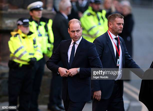 Prince William Duke of Cambridge arrives for the memorial service of The Duke of Westminster at Chester Cathedral on November 28 2016 in Chester...