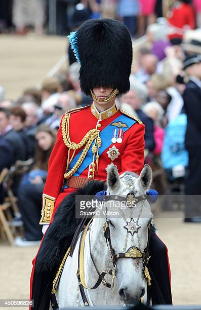 Prince William Duke of Cambridge arrives for Trooping the Colour at The Royal Horseguards on June 14 2014 in London England