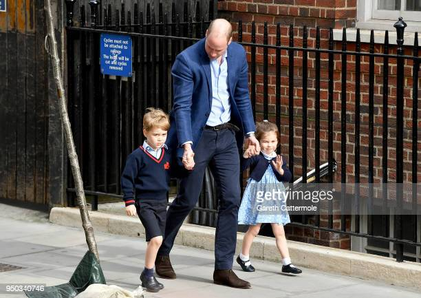 Prince William, Duke of Cambridge arrives with Prince George and Princess Charlotte at the Lindo Wing after Catherine, Duchess of Cambridge gave...