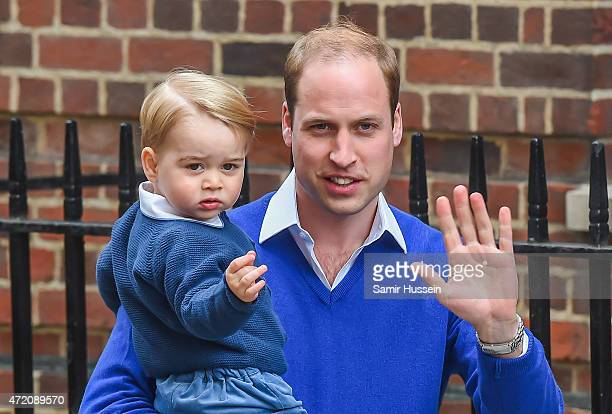 Prince William Duke of Cambridge arrives with Prince George of Cambridge at the Lindo Wing following the birth his second child at St Mary's Hospital...