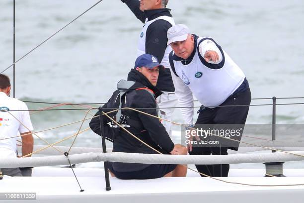 Prince William Duke of Cambridge at the helm competing on behalf of Child Bereavement UK during the inaugural King's Cup regatta hosted by the Duke...