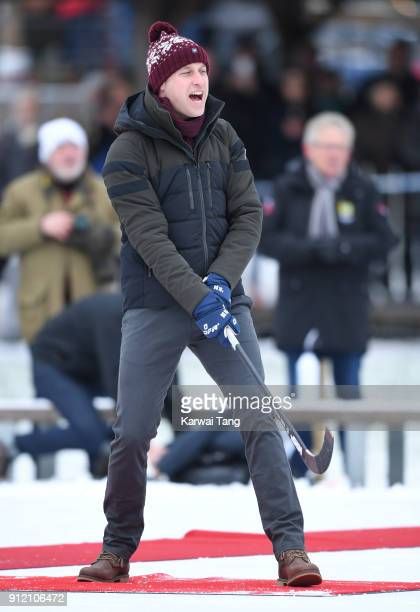 Prince William Duke of Cambridge attends a Bandy hockey match where they will learn more about the popularity of the sport during day one of the...
