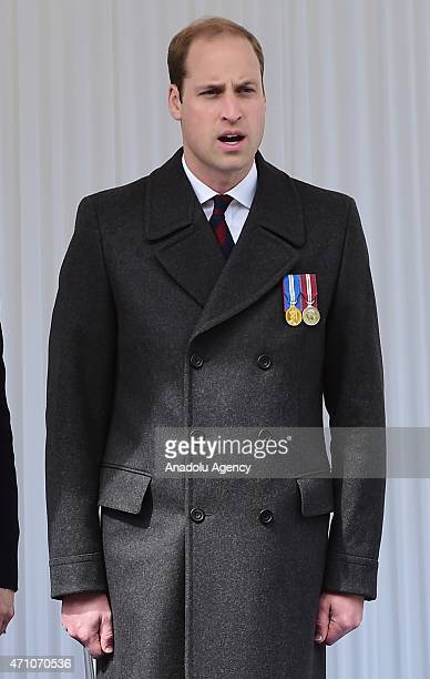 Prince William Duke of Cambridge attends a ceremony for the centenary of the Canakkale Land Battles and Anzac Day commemoration at The Cenotaph...