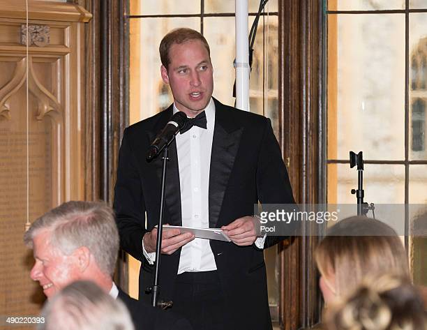 Prince William Duke of Cambridge attends a dinner to celebrate the work of The Royal Marsden hosted by the Duke of Cambridge on May 13 2014 in...