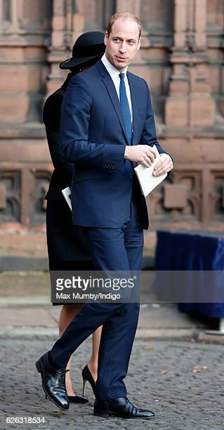 Prince William Duke of Cambridge attends a Memorial Service for Gerald Grosvenor 6th Duke of Westminster at Chester Cathedral on November 28 2016 in...