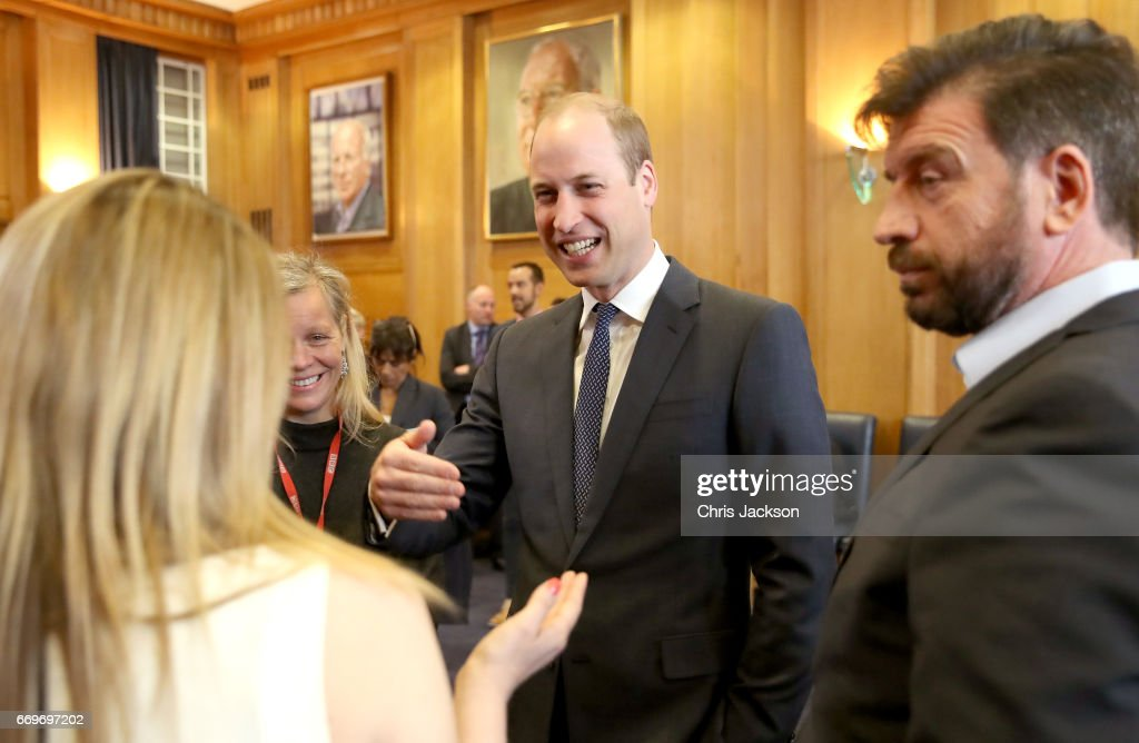 Prince William, Duke of Cambridge attends a reception where he meets TV presenter Nick Knowles (R), runners who feature in the documentary and the production team involved in the filming ahead of the screening of the BBC documentary 'Mind over Marathon' at BBC Radio Theatre on April 18, 2017 in London, England. The screening also launches the BBC season on mental health.
