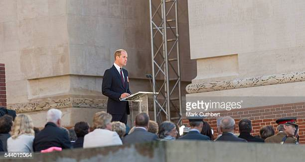 Prince William Duke of Cambridge attends a Vigil at The Commonwealth War Graves Commission Thiepval Memorial for the Commemoration of the Centenary...