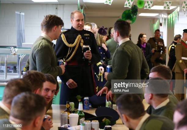 Prince William Duke of Cambridge attends the 1st Battalion Irish Guards St Patrick's Day Parade at Cavalry Barracks on March 17 2019 in Hounslow...