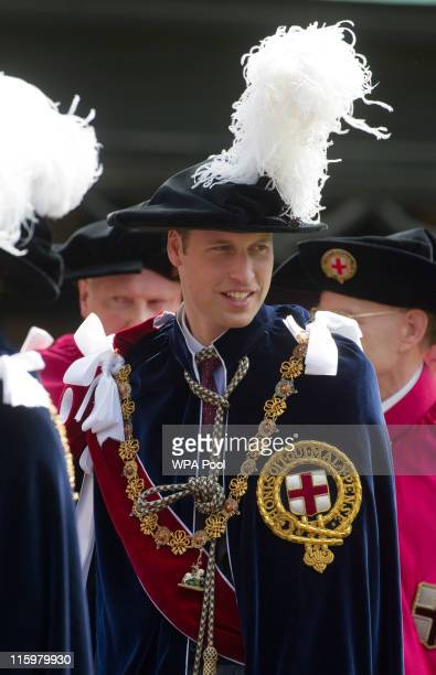 Prince William Duke of Cambridge attends the annual Order of the Garter Service at St George's Chapel Windsor Castle on June 13 2011 in Windsor...