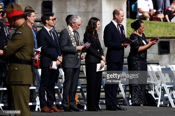 Prince William, Duke of Cambridge attends the ANZAC Day Civic Service with Prime Minister Jacinda Ardern, Mayor Phil Goff and Clarke Gayford at the...