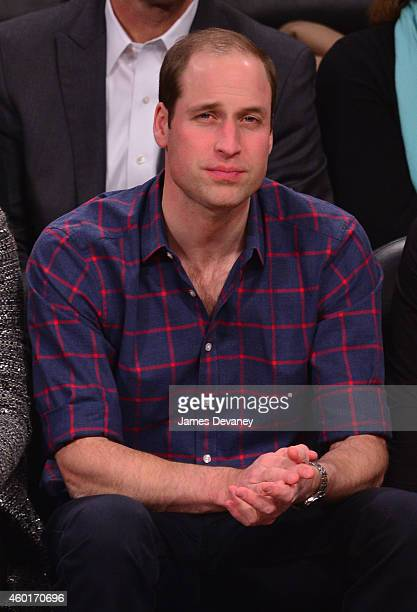 Prince William Duke of Cambridge attends the Cleveland Cavaliers vs Brooklyn Nets game at Barclays Center on December 8 2014 in the Brooklyn borough...