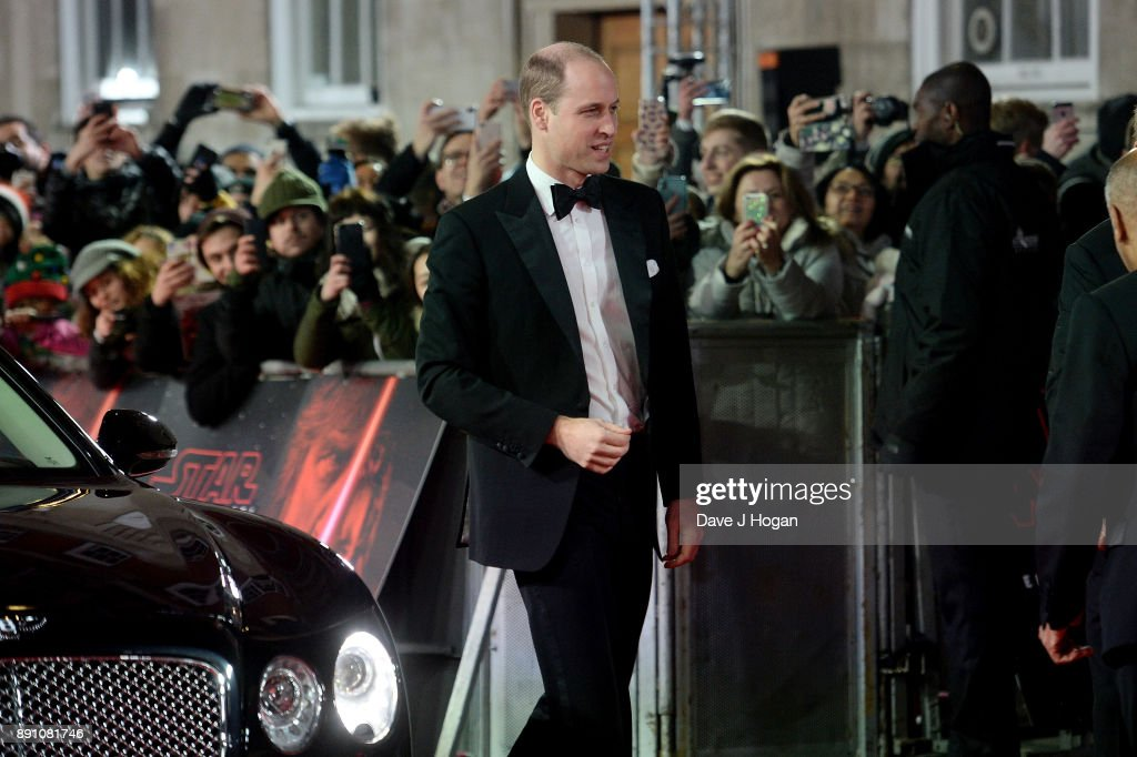 Prince William, Duke of Cambridge attends the European Premiere of 'Star Wars: The Last Jedi' at Royal Albert Hall on December 12, 2017 in London, England.
