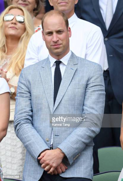 Prince William Duke of Cambridge attends the Mens Singles Final during day thirteen of the Wimbledon Tennis Championships at the All England Lawn...