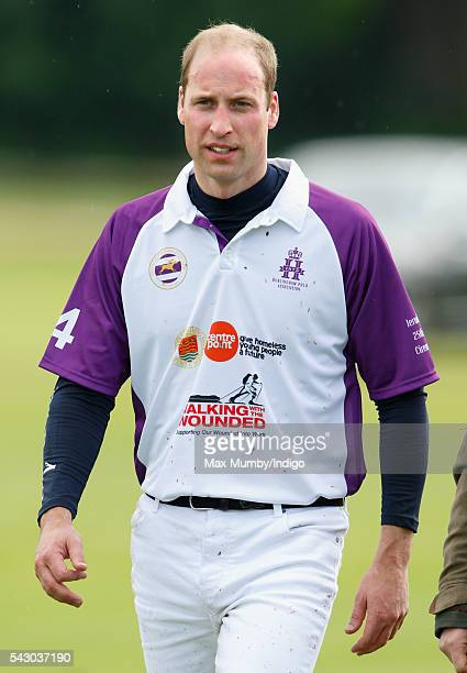 Prince William Duke of Cambridge attends the presentation after taking part in the Jerudong Trophy polo match at Cirencester Park Polo Club on June...