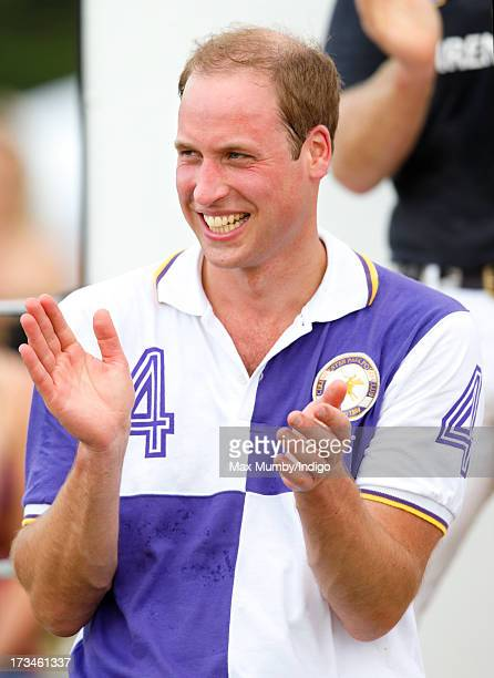 Prince William Duke of Cambridge attends the prize giving after playing in the Jerudong Trophy polo match at Cirencester Park Polo Club on July 14...