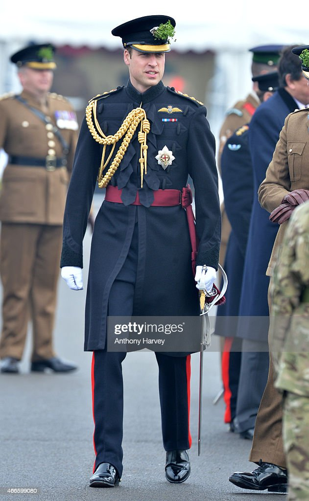 Prince William, Duke of Cambridge attends the St Patrick's Day Parade at Mons Barracks on March 17, 2015 in Aldershot, England.