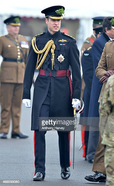 Prince William Duke of Cambridge attends the St Patrick's Day Parade at Mons Barracks on March 17 2015 in Aldershot England
