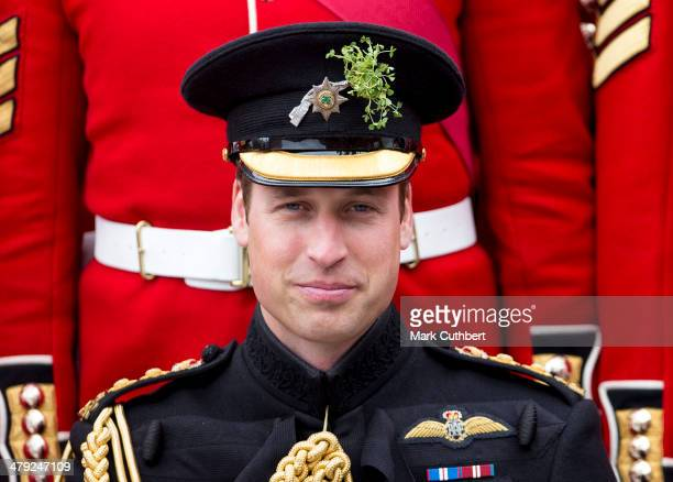 Prince William Duke of Cambridge attends the St Patrick's Day parade at Mons Barracks on March 17 2014 in Aldershot England