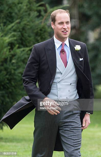 Prince William Duke of Cambridge attends the wedding of James Meade and Lady Laura Marsham at The Parish Church of St Nicholas in Gaytonon September...
