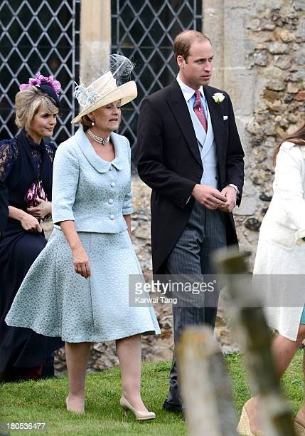 Prince William Duke of Cambridge attends the wedding of James Meade and Lady Laura Gayton at The Parish of St Nicholas Gayton on September 14 2013 in...
