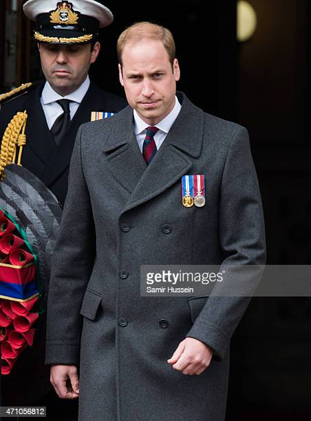 Prince William, Duke of Cambridge attends the wreath-laying ceremony at the Cenotaph to commemorate ANZAC Day and the Centenary of the Gallipoli...
